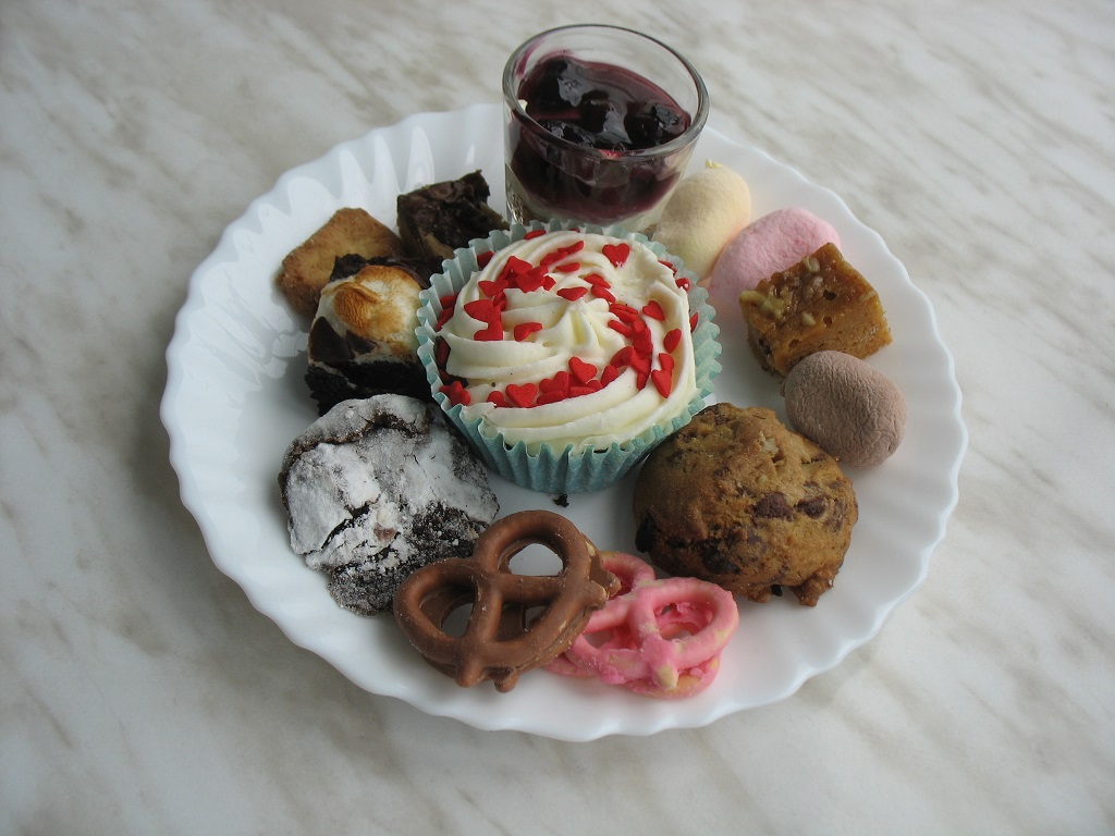 Cookies, pretzels, cupcake and assorted bites